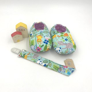 Animal tribe (light blue bottom) - toddler shoes / baby shoes / baby shoes + single buckle sling clip