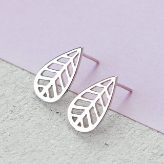 Leaf Earrings in Brass with White Gold plating