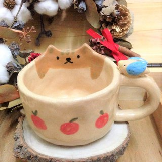 Small apple mug of tabby cat