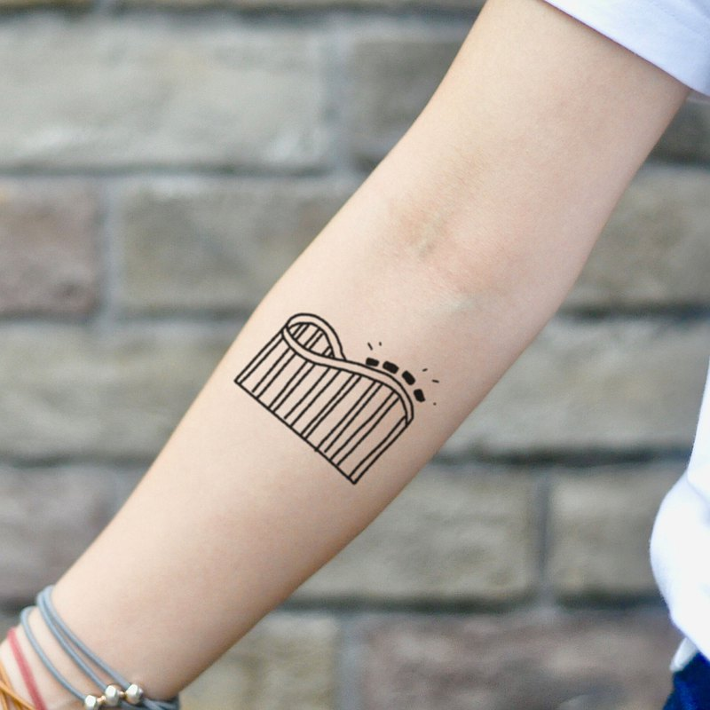 Hand Drawn Roller Coaster Temporary Tattoo Sticker (Set of 2) - OhMyTat