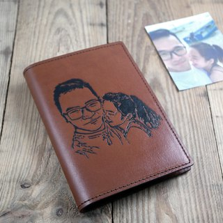 APEE leather hand ~ extension passport holder ~ brown