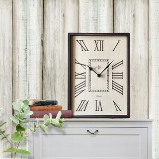 Wood wall clock- beige-mute -vantage-restro chic--wall decor-21X29cm-rectangle