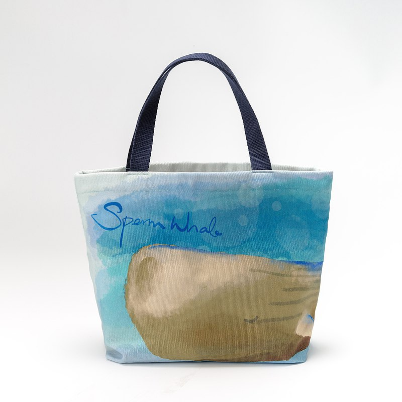 Three-purpose water-repellent tote bag_sperm whale