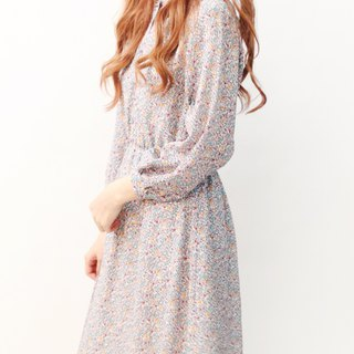 Japanese vintage grey geometric long-sleeved thin vintage dress Japanese Vintage Dress