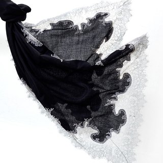 Angel Woolen Indian Pashmina handmade cashmere lace shawl Audrey charm and beautiful black