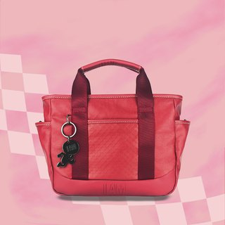 Free shipping I AM-tote bag - red with leather