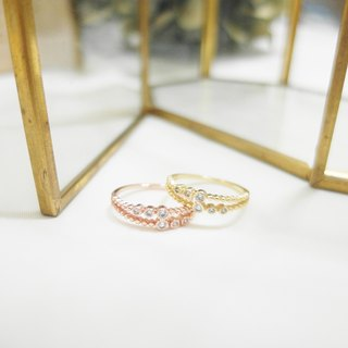Double Round Diamond Zircon Ring - Gold / Rose Gold