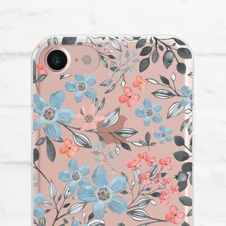 Floral, Clear Soft Case, Clear Soft Case, iPhone X, Samsung