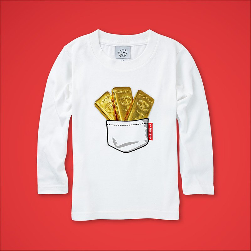 Gold bars full bag long-sleeved shirt T-shirt white children's clothing adult clothing parent-child clothing New Year Spring Festival 2021
