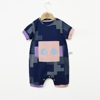 Original design baby robot coveralls baby short-sleeved romper summer fart clothing
