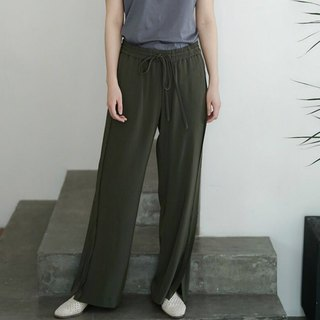 Summer Chaplin | Dark green super thin drip feeling drawstring straight comfortable gloss loose long pants