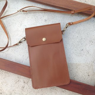 (Long oblique back pocket) Mobile phone strap, you can put your travel card, card, hung your chest, purse hand stitching, leather [when leather] caramel brown