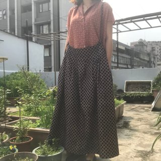 Woodcut printing and dyeing natural plant dyed wide version low waist suspender skirt moonlight