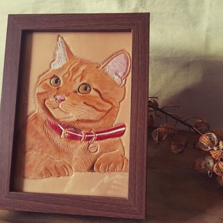Customized pet cat pure leather wooden frame (made for Valentine, birthday gift)