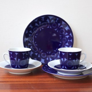Swedish Rörstrand AGDA Blue Flower Vine Cup Cup Three-piece Set