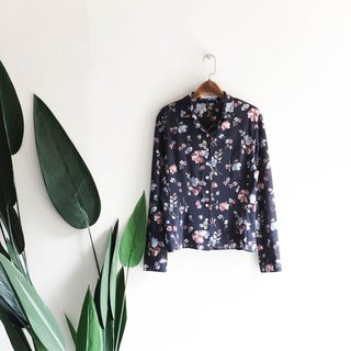 River Hill - Miyagi dark blue love flowers day and antique silk spinning shirt shirt shirt oversize vintage