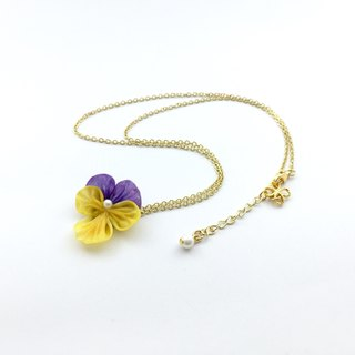 [If] [miniature] Sang ma mi-zu pansy floral fretwork. 24K gold plated brass necklace. Handmade necklace / necklace / clavicle chain / short chain