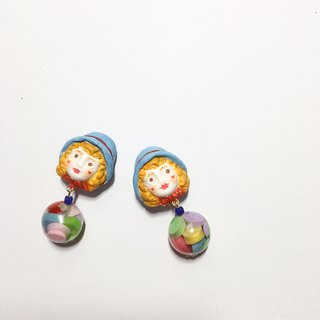 Hit color retro doll clay hand made earring ear clip
