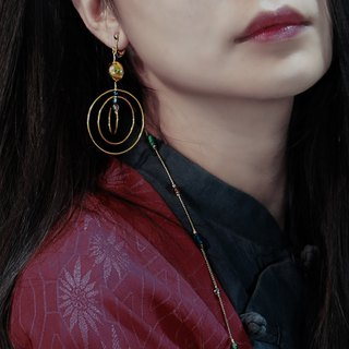 Dream catching. Table 22K gold. Glass. earring.