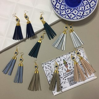 earrings: eyes leather tassel