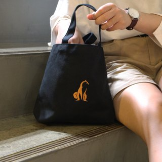 Hand-wide canvas bag - embroidery black lily