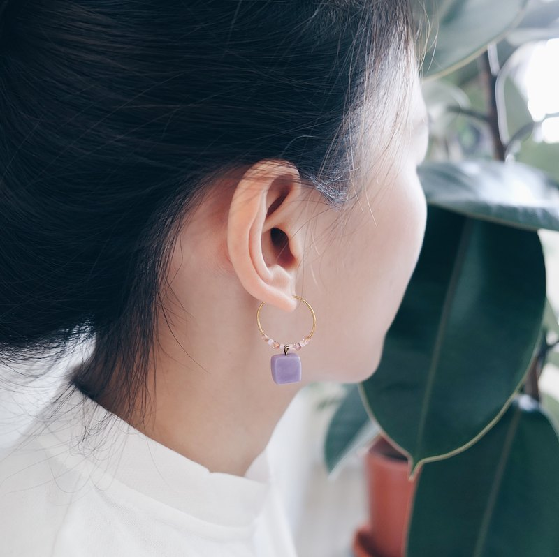 Cube Clay Hoop Earrings - Jelly Purple