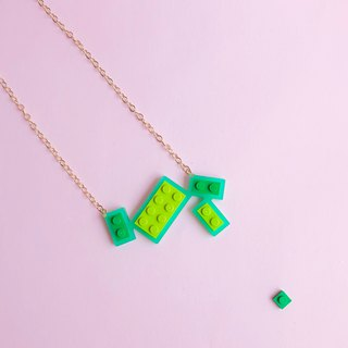 Natural fresh green Geometric LEGO Necklace