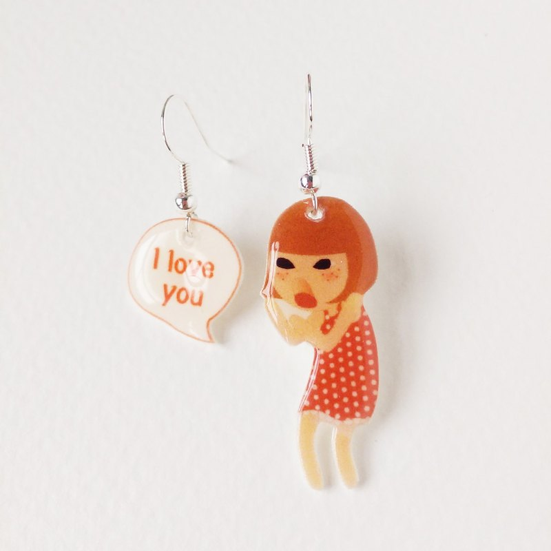 Small Q series handmade goods - shouting I love you original illustration love shout / hook earrings gift