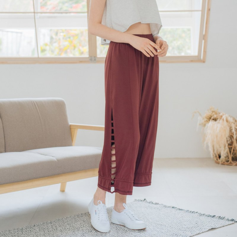 [MACACA] Free Heart Yoga Wide Pants - BOE7432 Wine Red