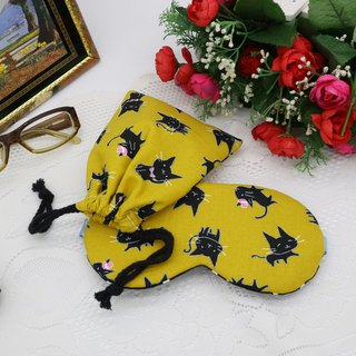 Mustard Yellow Cat Adjustable Eye Mask Sleeping Bag