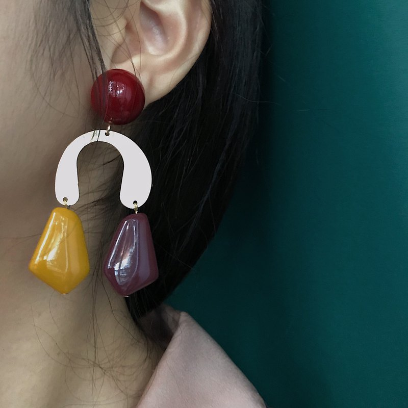 Swanlace 暮 暮 oil painting color block geometric acrylic design sense earrings ear clip female