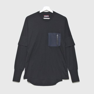 Hac.jr zip pocket multi-layer long-sleeved shirt _ black