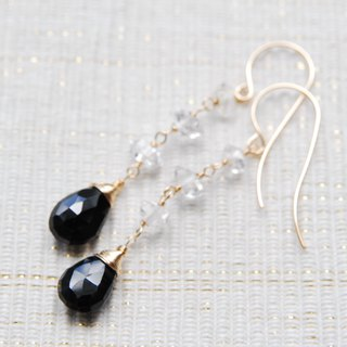 Black spinel and Herkimer diamond crystal earrings 14 kgf