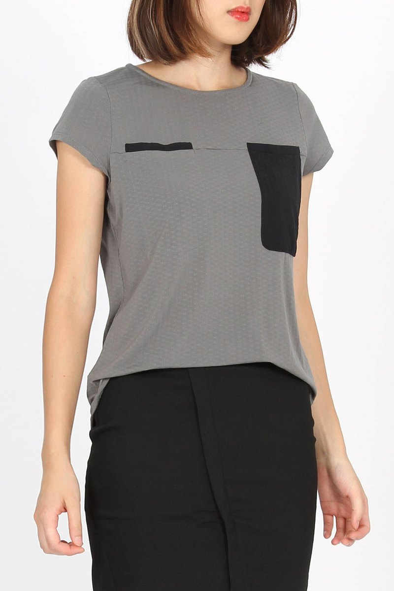 Tencel Double Pocket Waist Shirt - Grey