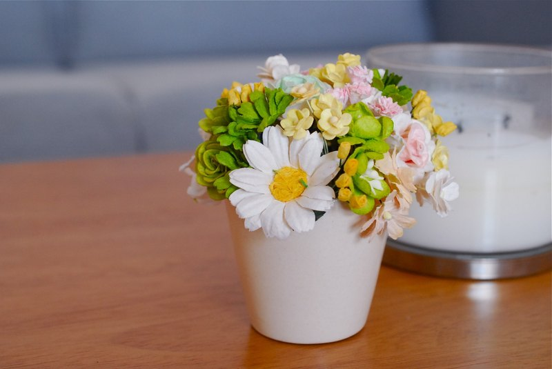 Paper Flowers, Flowers gift ceramic white pot, greenery yellow, add some pink colors.