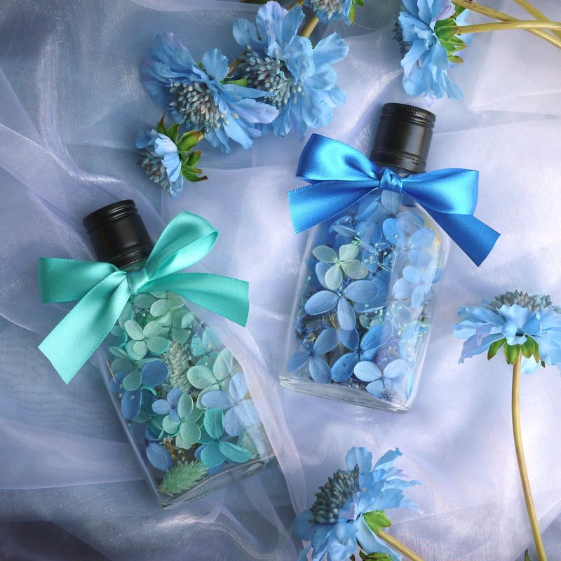 Valentine's Tribute - Blue Green Whiskey Glass Flat Bottle Non-Anemone Hydrangea Blue & Tiffany Blue