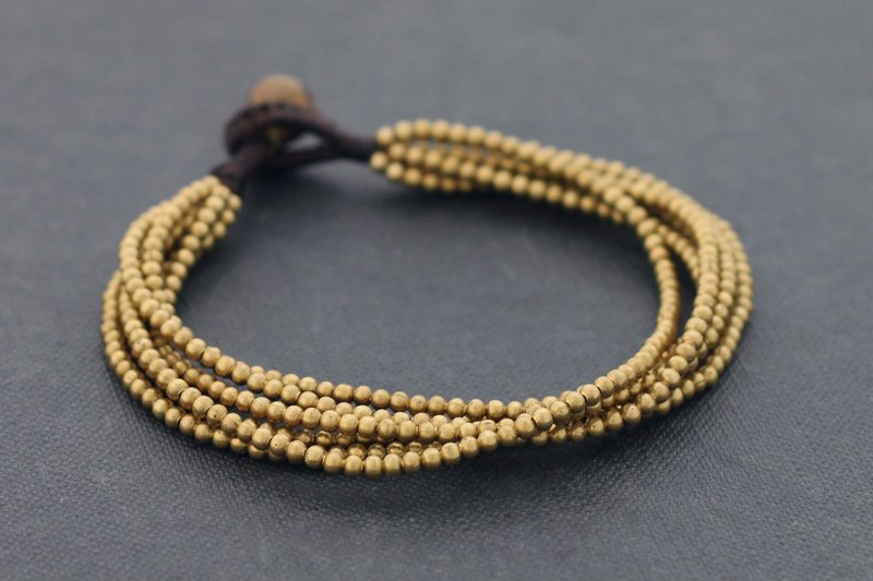 Strand Bracelets Solid Brass Layer Casual Beaded Woven