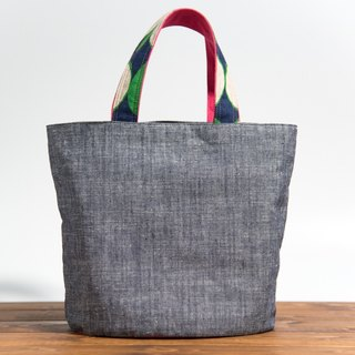 Tannin dyed cotton and linen handbag - blue x pink EH80