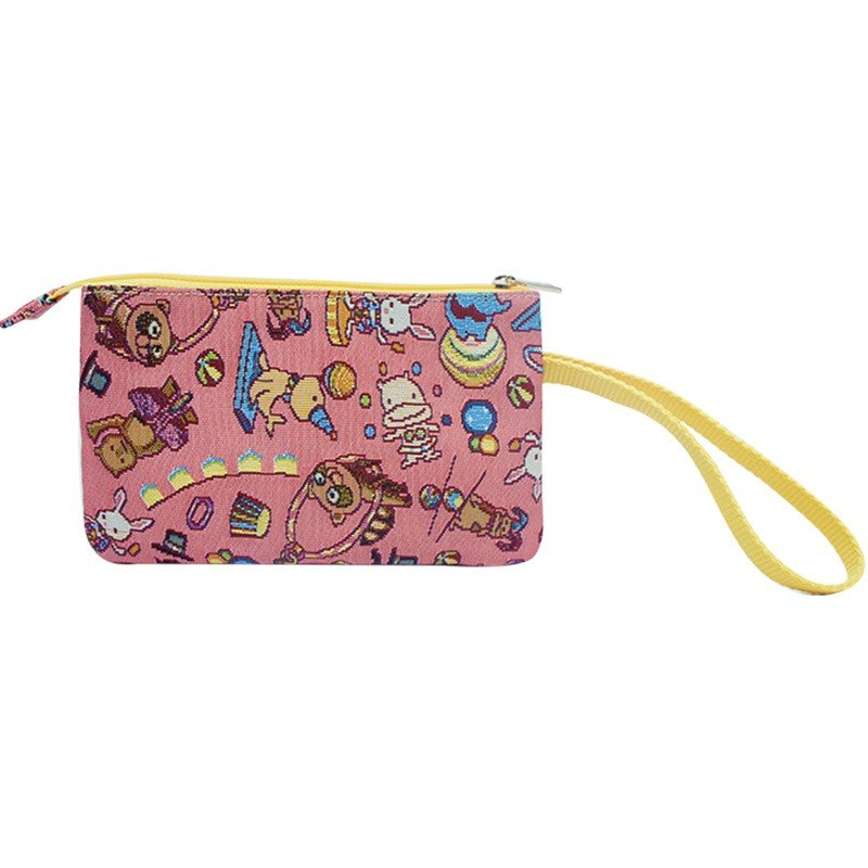 Silk flower woven double sandwich hand bag happy mini circus (powder) yellow