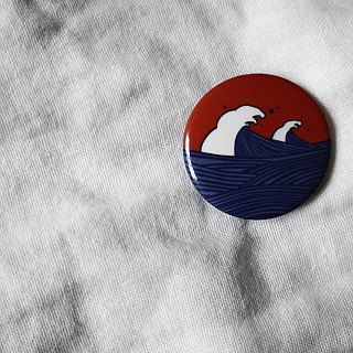 Dark Sea Wave Badge / Badge / Pin / Brooch