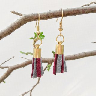 Gray-red two-tone Korean velvet hand made tassel earrings can be changed ear clip