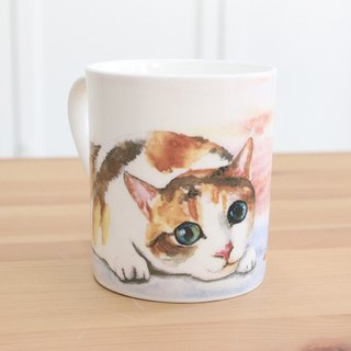 Bone china mug - voyeur kitten / microwaveable / through SGS