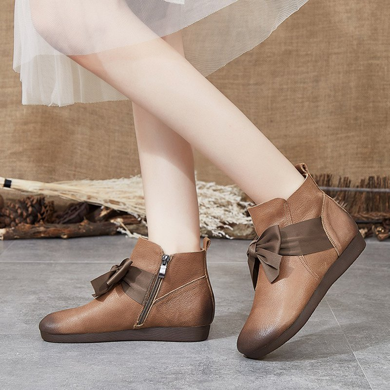 Handmade leather women's boots autumn and winter models national style retro single boots leather leather Martin boots