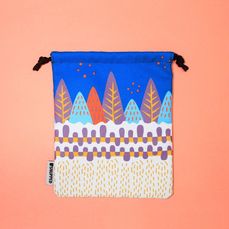 Path Blue Lined Digital Printed Drawstring Pouch Bag / Goodie Bag