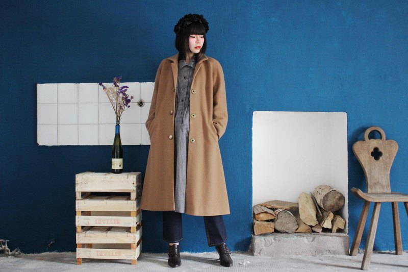 [Vintage Coat] (Made in Italy) Camel Wool Double-Pocket Coat Vintage Fur Coat F3158 ​​(Christmas Gifts Christmas Gifts)