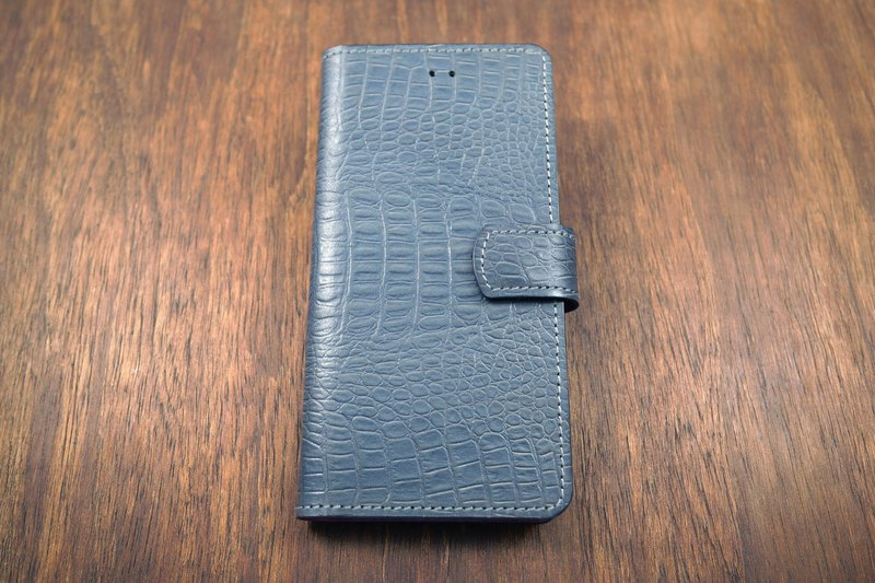 Api handmade ~ side 掀 mobile phone sets ~ crocodile skin blue gray ~ iphone 8 plus / XR / Xs Max