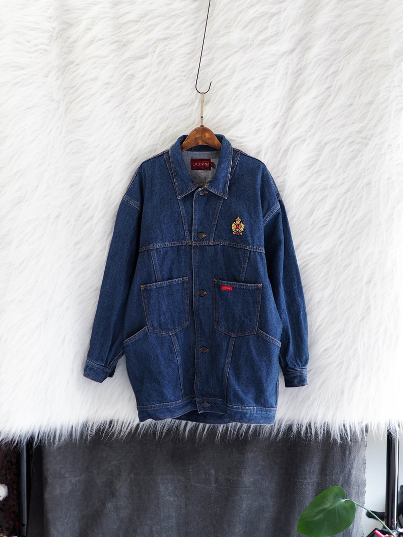 Classic Blue Long Edition Wide Love Day Weekend Time Antique Cotton Denim Denim Top Jacket Vintage