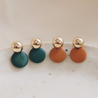 Swing small round wood - warm orange drop earrings earrings (pair) [can change ear clip]