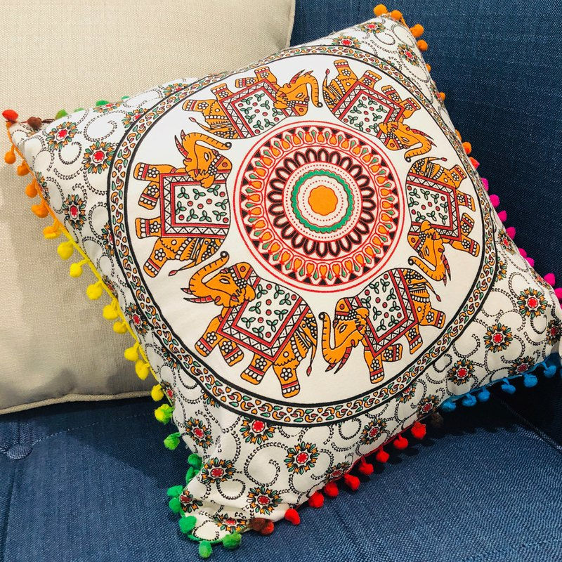 Indian elephant mandala velvet ball pillowcase - pink orange