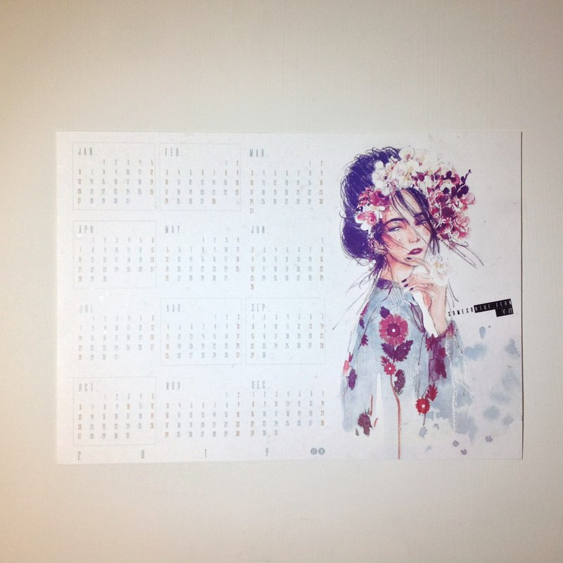 | 2019 Single-sided calendar: A4 small pictorial | ms.Orchid